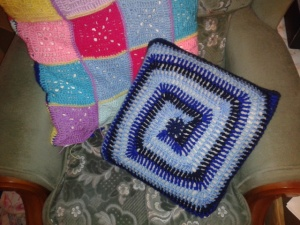 granny square pillow case crocheted geometric swirl