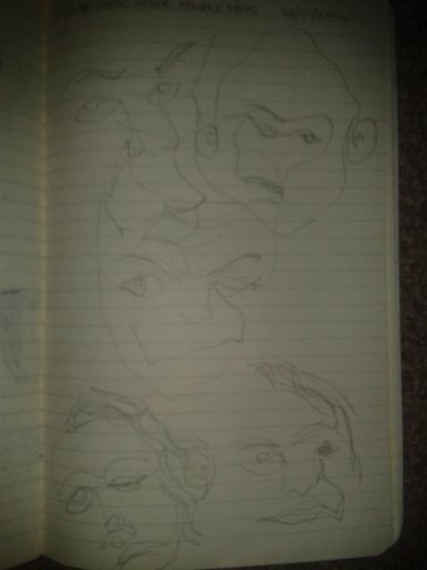 adrawingaday faces of meth contour sketch