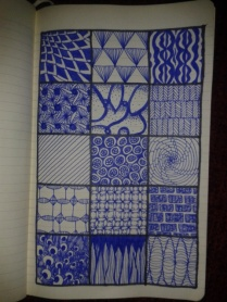 zentangles blue ink drawingaday sketching