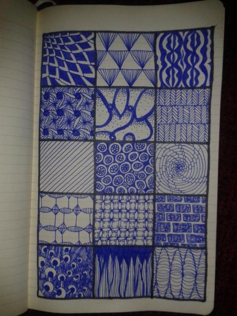 zentangles blue ink drawingaday sketching