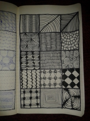 black ink moleskine zentangle sketch