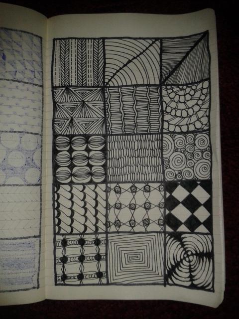 black ink moleskine zentangle sketch