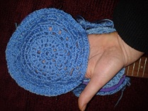 crocheted doily pocket sewing handmade