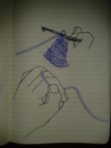 crocheting hands ink drawing moleskine