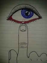 coloured ink stye drawing finger eye moleskine