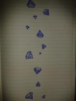 diamond rain gems blue ink sketch moleskine