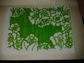 green ink carnations hand drawing sticker street art