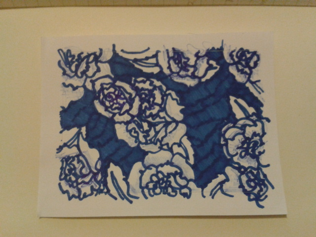 blue ink carnations sticker drawing