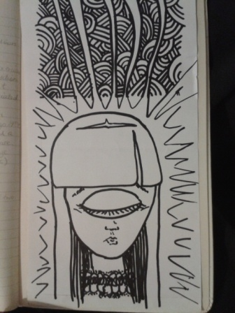 cyclops black ink sketch hand drawn sticker