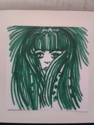 eyes kimono hair green ink sticker sketch
