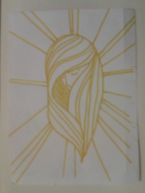 yellow texta ink hair halo sticker