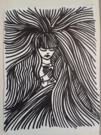 face hair and hands black ink drawing