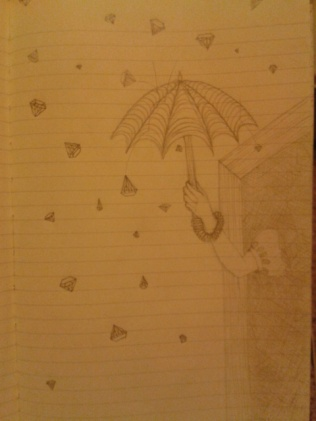 umbrella diamond rain graphite sketch moleskine