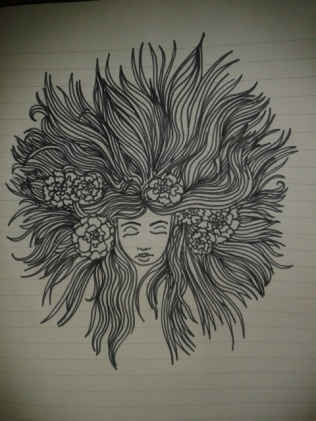 carnations hair black ink drawing moleskine