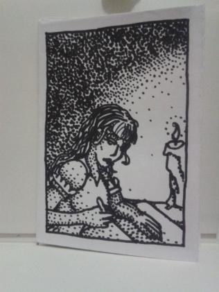 adrawingaday ink drawing pointillism kellymarietheartist