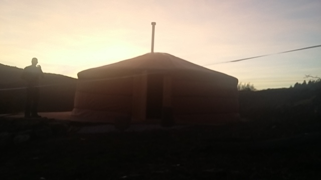 Sun setting on Olabe yurt