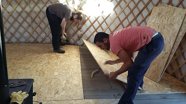 Yurt flooring woodworking Olabe Basque Country