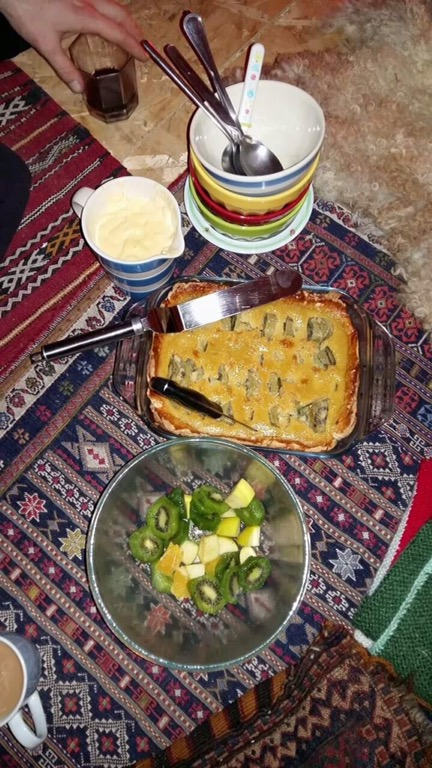 Home grown fruit pies and salad kiwi fruits