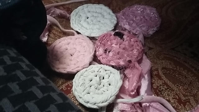 Pink white rose coloured crochet fabrics