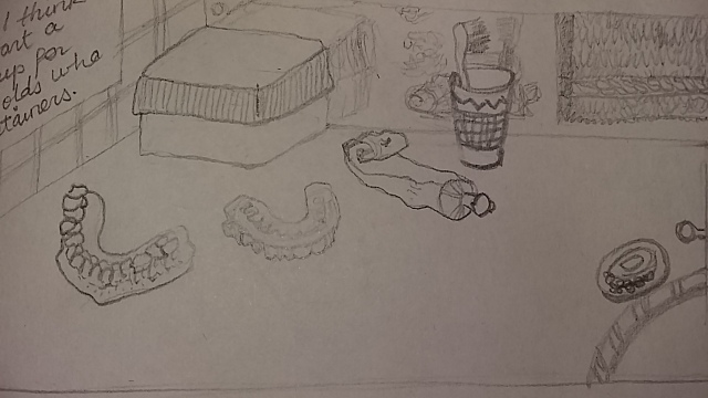 pencil sketch bathroom mundane scene