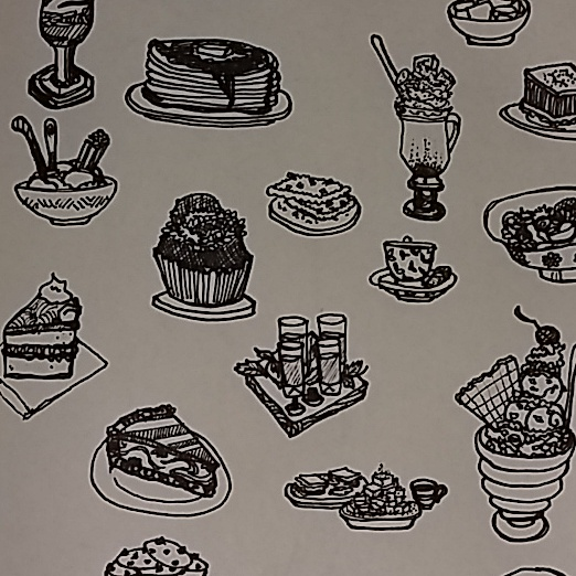 ink sketch sweets puddings cakes waffles desserts