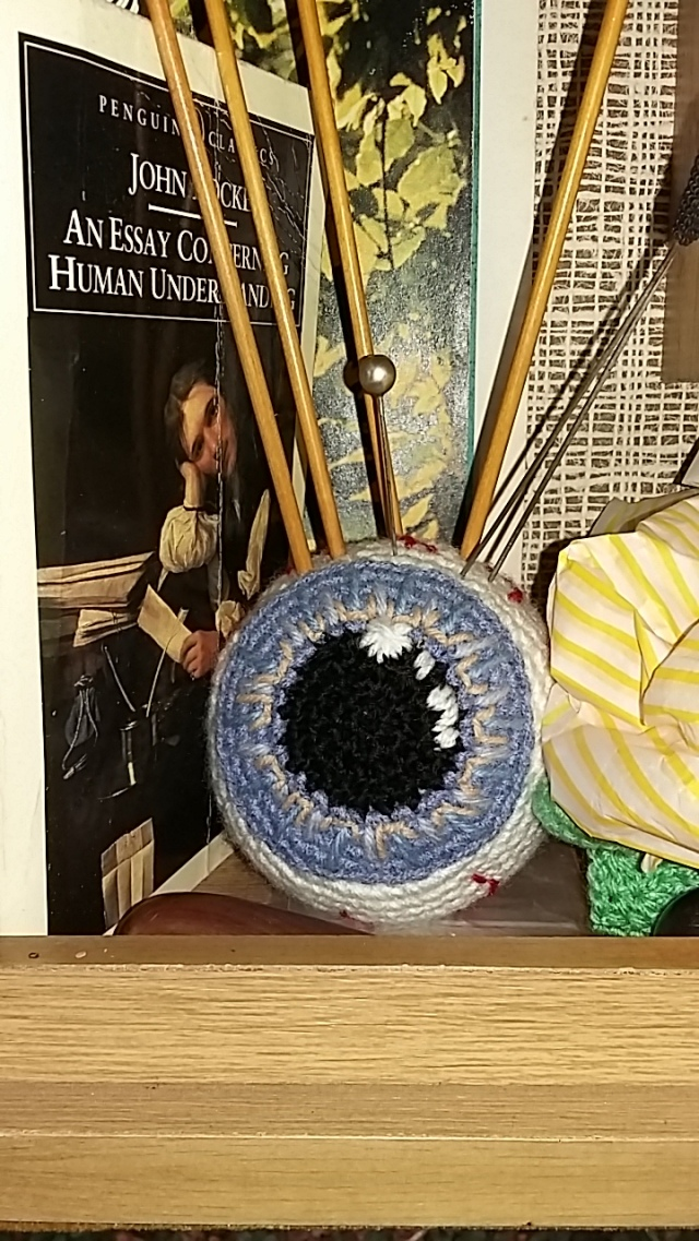 realistic functional artwork crochet hair pincushion eyeball