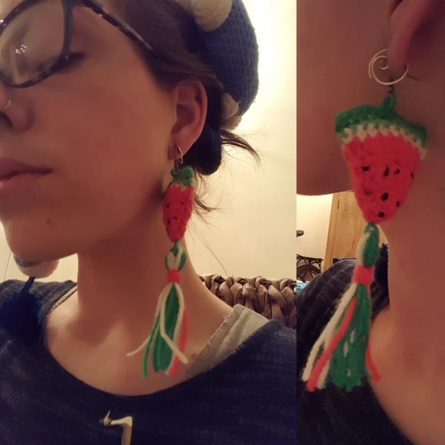 Tropical fruit themed crochet earrings, watermelon