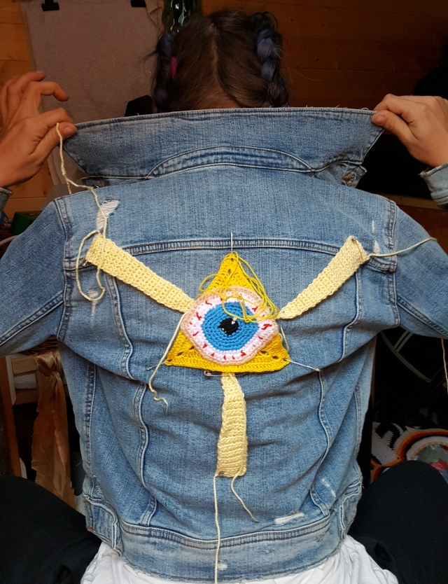 Occult art themed jacket applique patches